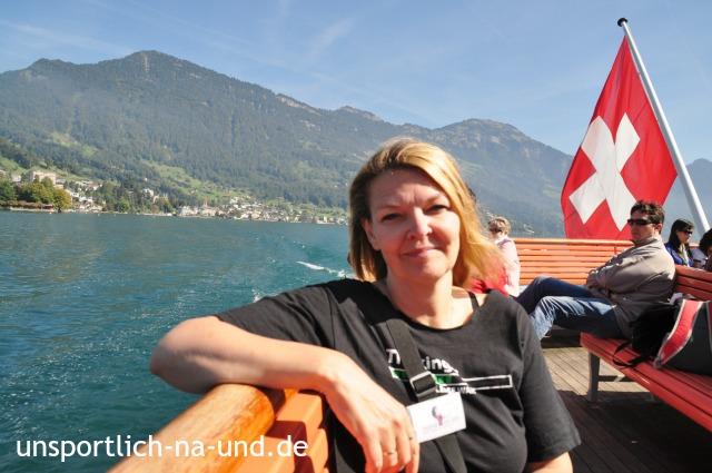Meinereiner auf der Fähre über den Vierwaldstätter See zurück nach Luzern.