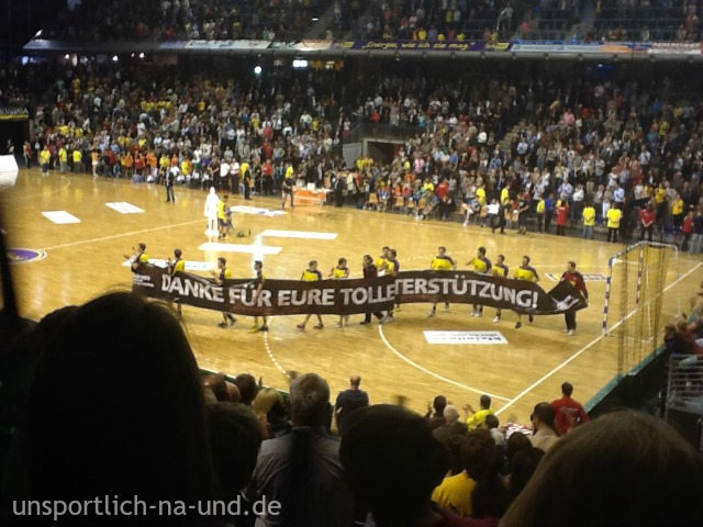 Füchse Berlin feierten Meisterschaft in der Max-Schmeling-Halle. Foto: Petra A. Bauer 2012