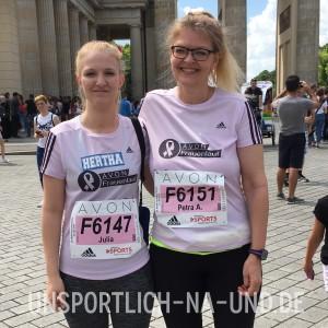 Unser erster Avon Frauenlauf. Meine Tochter Julia und ich - vor dem Lauf.